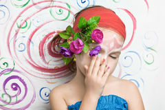 Girl with makeup on her face Royalty Free Stock Photography