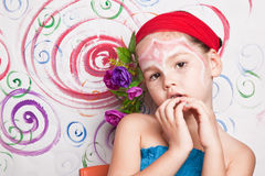 Girl with makeup on her face. The Girl with makeup on her face Royalty Free Stock Photo