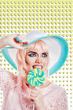 Girl with makeup in style of pop art, hat and lollipop. Colored Stock Image