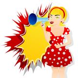 Girl making announcement with megaphone or loudspeaker. stock illustration