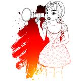 Girl making announcement with megaphone or loudspeaker. royalty free illustration