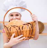 Girl making bread Royalty Free Stock Photography