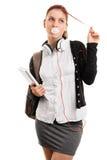 Girl making bubble gum bubbles Stock Images