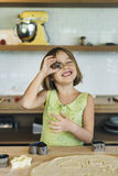 Girl Making Cookies Learning Baking Concept Stock Image