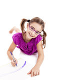 Girl making drawings Stock Photos