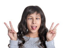 Girl making facial expresions. On white background royalty free stock images