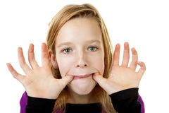 Girl is making funny face Royalty Free Stock Photography