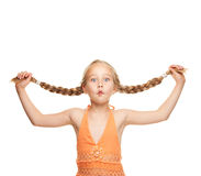 Girl making funny face. Little girl making funny face Royalty Free Stock Photo