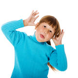 Girl making funny faces isolated Royalty Free Stock Photos