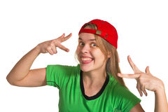 Girl making grimace. On the white background Stock Photography