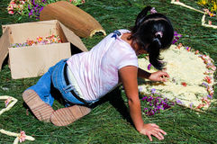 Girl making Holy Week carpet, Antigua, Guatemala Stock Photo