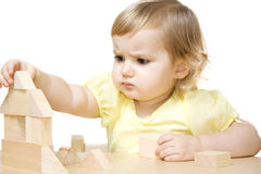 Girl making house Stock Photo