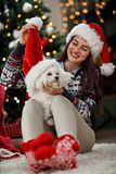 Girl making joke with her puppy for Christmas. Girl making joke with her puppy and Santa Close cap for Christmas Stock Images