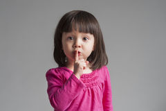 Girl Making A Keep Quiet Gesture Stock Image