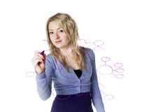 Girl making a mindmap Royalty Free Stock Image