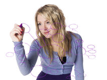 Girl making a mindmap royalty free stock photos