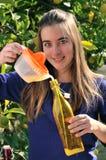 Girl making natural lemonade Royalty Free Stock Photos