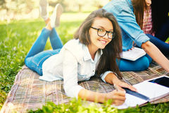 Girl making notes Royalty Free Stock Photo