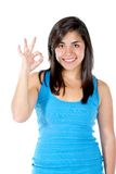 Girl making an ok sign Royalty Free Stock Image