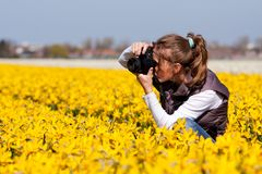 Girl making pictures of flowers Stock Images