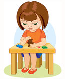 Girl making plasticine figures  cartoon  illustration  on white background. Stock Photos