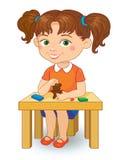 Girl making plasticine figures cartoon vector illustration  on white background. Kindergarten girl making plasticine figures cartoon vector illustration  on Stock Photography