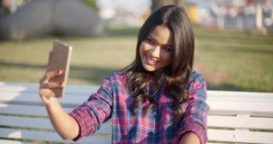 Girl Making Selfie Outdoor stock footage