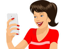 Girl making selfie Stock Photography