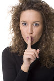 Girl making silence sign Royalty Free Stock Image