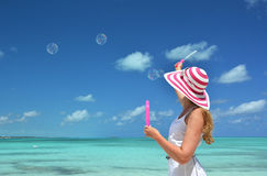 Girl making soap bubbles Royalty Free Stock Photo