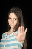 Girl making stop gesture Stock Image
