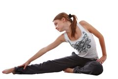 Girl making stretching Stock Photography