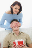 Girl making surprise to boyfriend Royalty Free Stock Photography