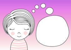 Girl making a wish thinking bubble invitation card Royalty Free Stock Photos