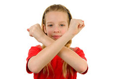 Girl is making X sign Stock Images