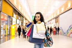 Girl in mall Royalty Free Stock Photo