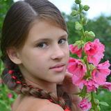 Girl with mallow Stock Photos