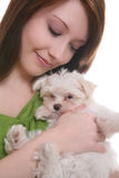 Girl with Maltese Dog Stock Photo