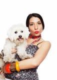 Girl with maltese dog. Isolated on white background Stock Image