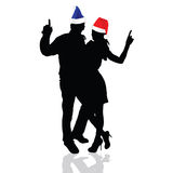 Girl and man with christmas hat vector Royalty Free Stock Photos