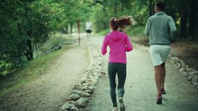 A girl and a man are engaged in a sport. In a park stock footage