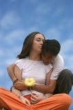 Girl and man in love - sky Royalty Free Stock Images