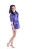 Girl in man's shirt. Royalty Free Stock Image