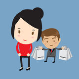 Girl and man shopping Stock Photo