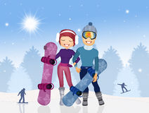 Girl and man with snowboard Royalty Free Stock Image