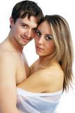 Girl and a man together 10. A white girl and a white man standing together on a white background stock images