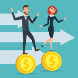 Girl and a man traveling businessmen on coins. Business cartoon Stock Image