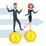 Girl and a man traveling businessmen on coins. Business cartoon Royalty Free Stock Photography