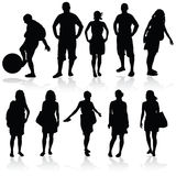 Girl and man vector silhouette Royalty Free Stock Image