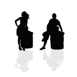 Girl and man vector silhouette part two Royalty Free Stock Photo